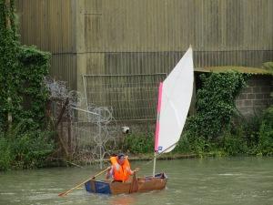 Andrew in the folding boat